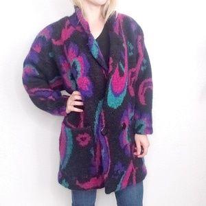 80-90s Vintage Paisley Wool Mohair Fuzzy Jacket